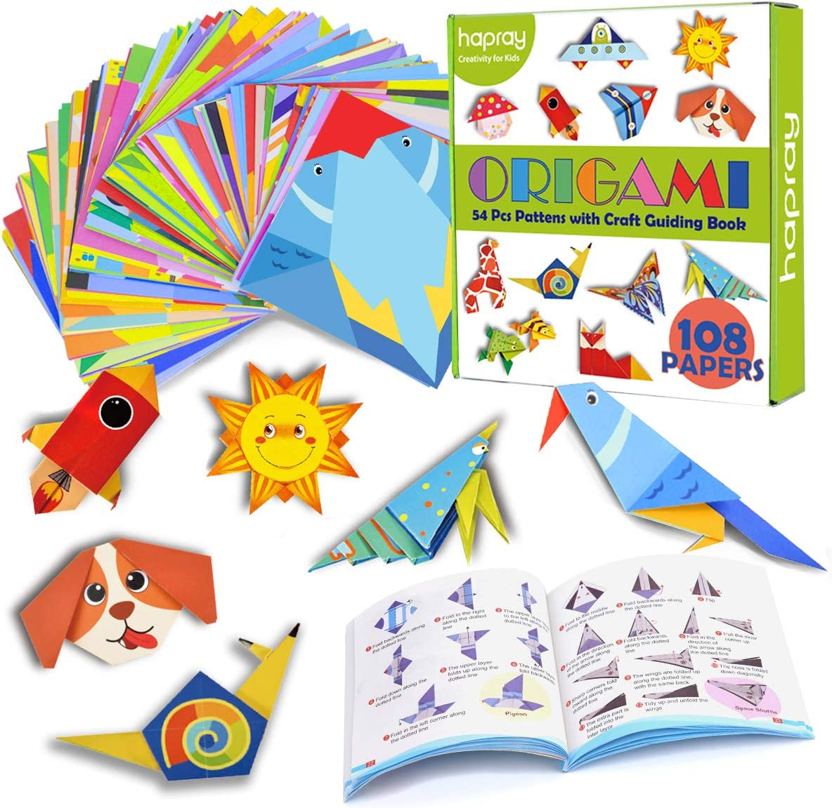 hapray Origami Kit for Kids Beginners 55 Pages Instructional Origami Book Origami Paper for DIY Art and Craft Projects 118 Sheets Double-Sided Origami with 54 Patterns Children Gifts