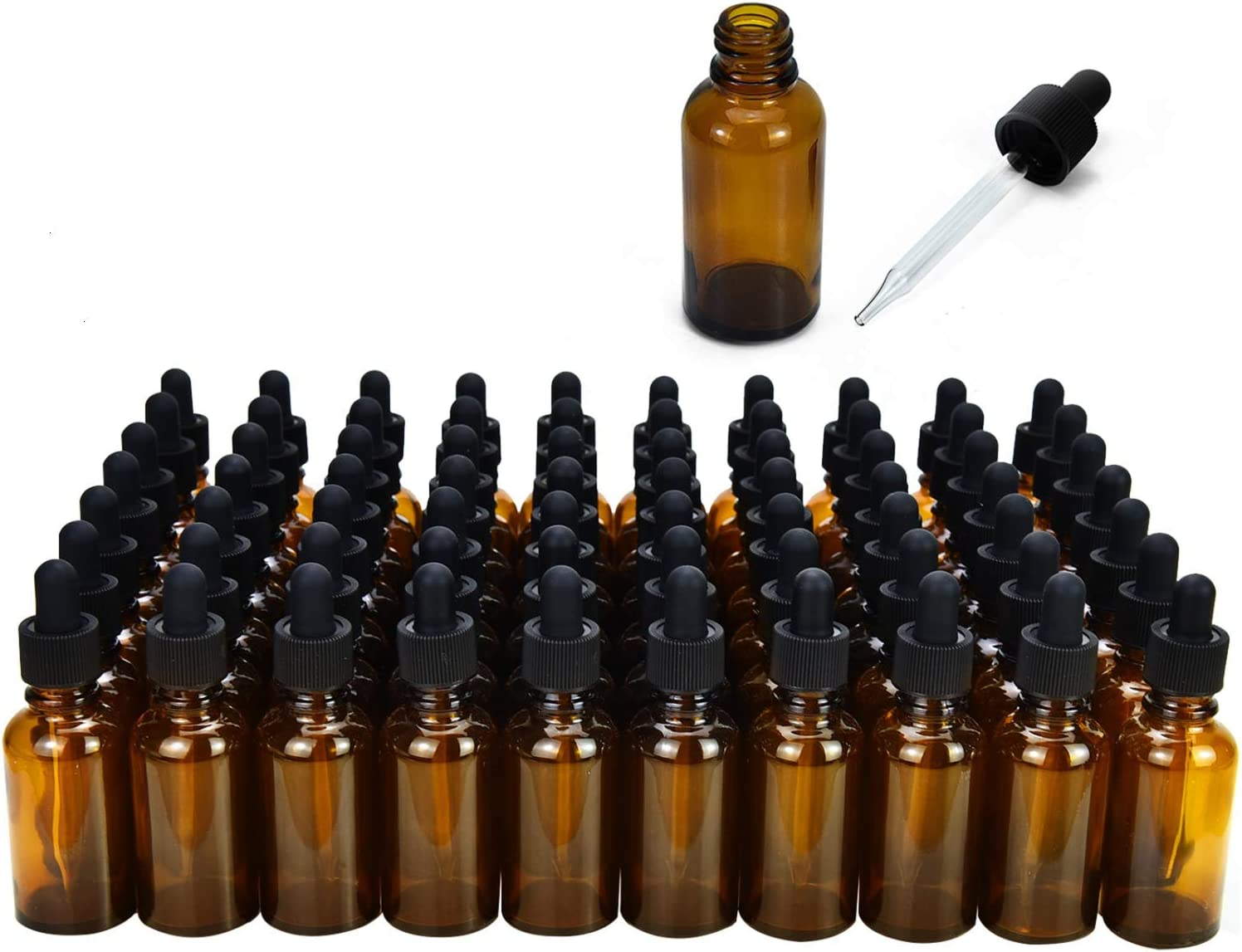June Fox Glass Dropper Bottle,99 Pack 1oz Amber Glass Bottles with Glass Droppers and Black Cap for Essential Oils, Lab Chemicals, Perfumes