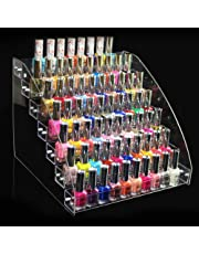 Nail polish display, 6 Types Durable Nail Polish Acrylic Clear Makeup Display Stand Rack Organizer Holder (7 Layers)