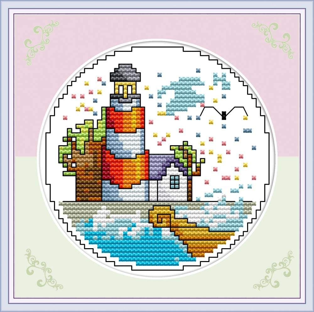 Lighthouse Four Seasons Seaside Autumn 11CT 20/×20cm DIY Embroidery Needlework Kit with Easy Funny Preprinted Patterns Needlepoint YEESAM ART Cross Stitch Kits Stamped for Adults Beginner Kids