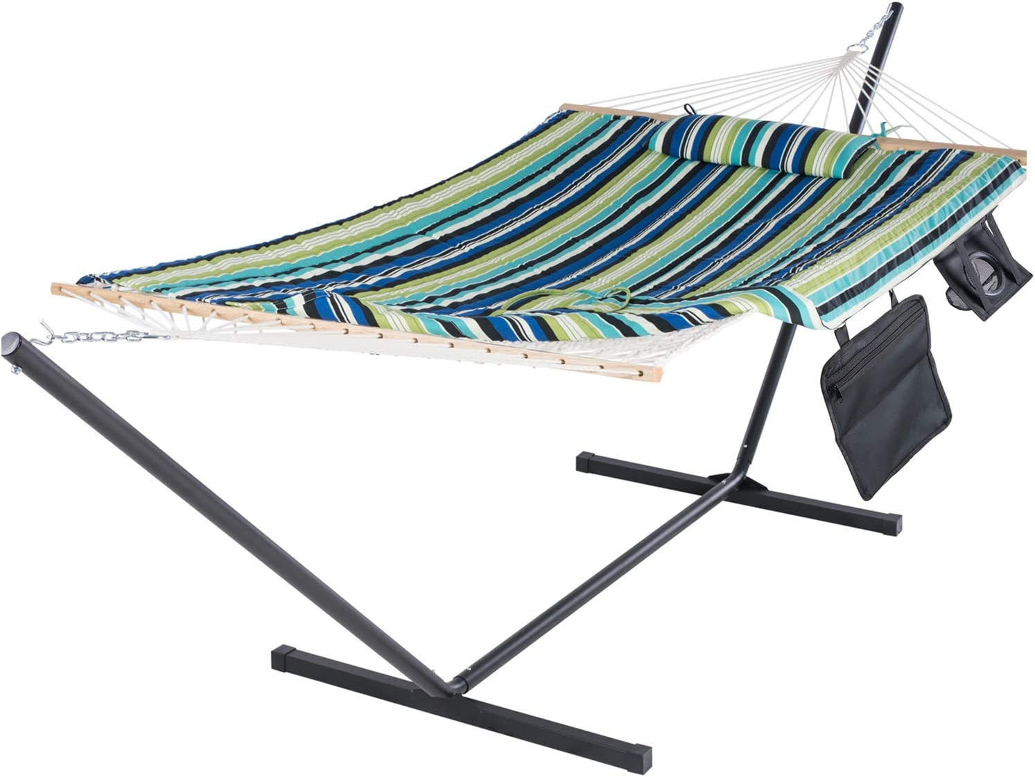 Amazon Com Suncreat Cotton Rope Hammock With Stand Extra Large Double Hammock With Hardwood Spreader Bars Quilted Fabric Pad Detachable Pillow Ipad Bag Cup Holder Blue Kitchen Dining