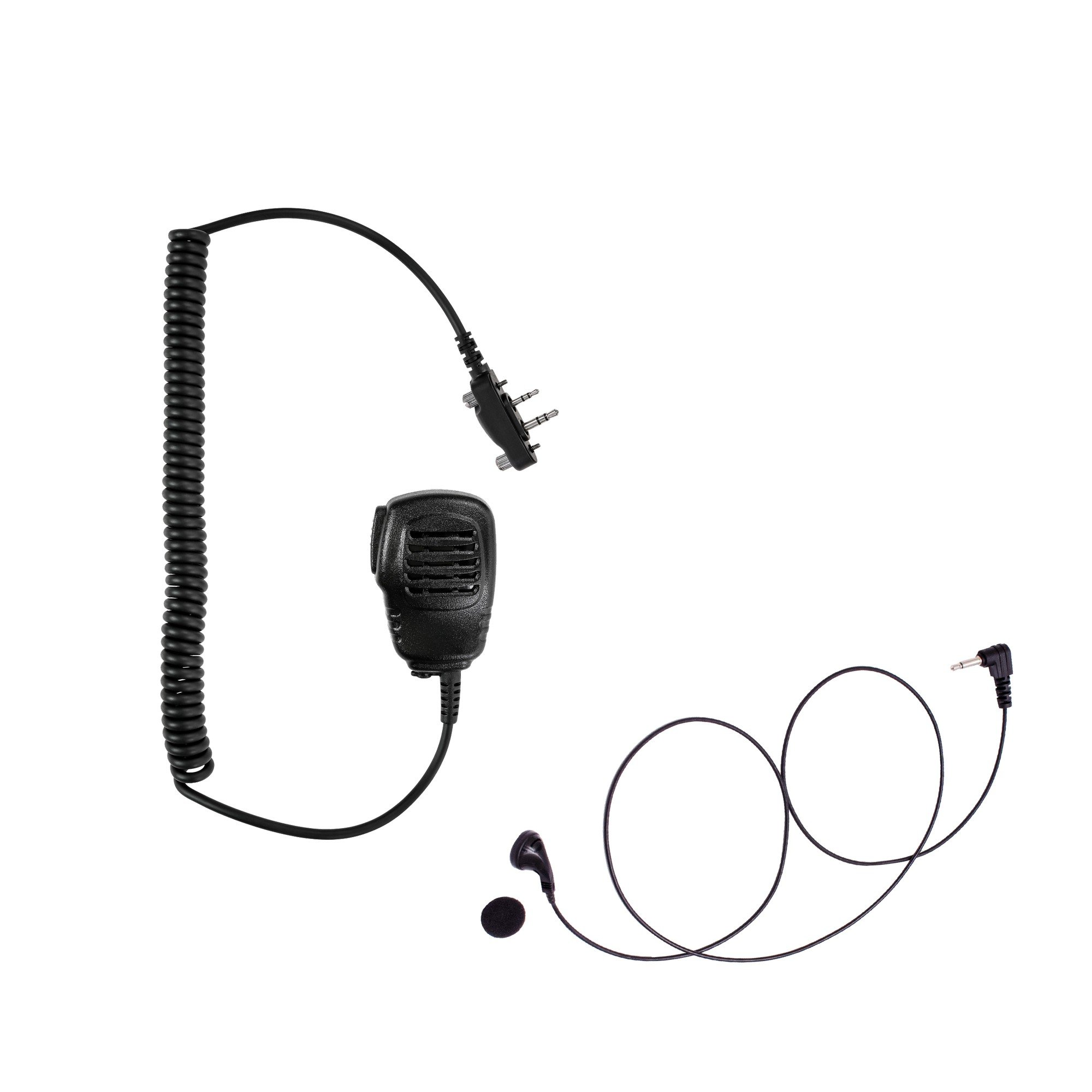 Maxtop APM100ARP01-I2 Light Duty Shoulder Speaker Microphone + Earbud Listen Only Earpiece for ICOM