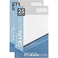 Graph Paper Engineering Pad, Quad Ruled Notebook, 25 Sheets Each (17x11 in, 2 Pack)