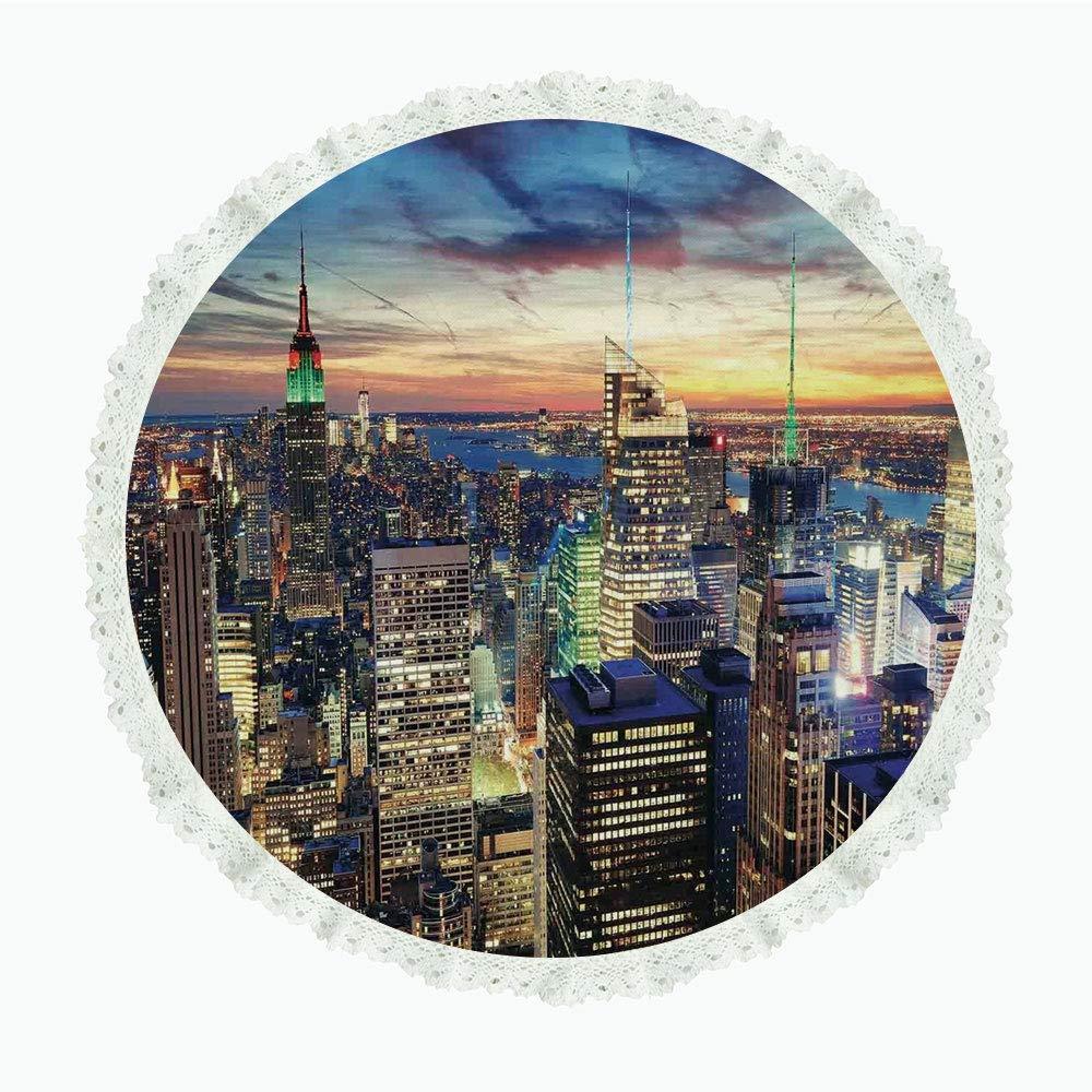 36インチ ラウンド ポリエステル リネン テーブルクロス ニューヨーク デジタルドローン ブルックリンブリッジ 珍しいグラフィティスタイル 古い都会の風景プリント ブラウンホワイト ディナーキッチン ホームデコレーション Round 60