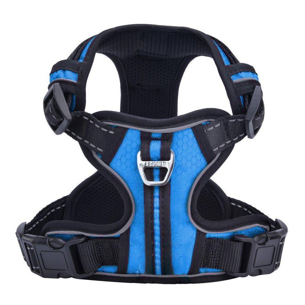 PUPTECK Best No-Pull Dog Harness with Vertical Handle,Calming Adjustable Reflective Outdoor Adventure Pet Vest,Blue XS