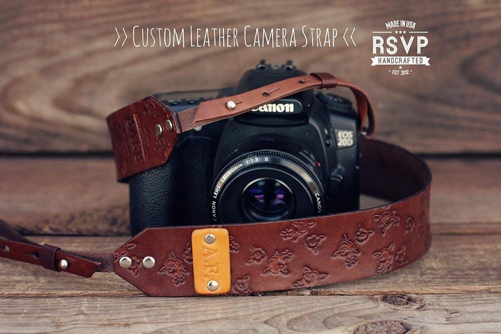 Handmade Leather and Suede Camera Strap Burgundy Scrolls DSLR PRE-ORDER