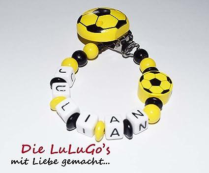 Cadena para chupete con nombres - Fútbol en negro amarillo ...