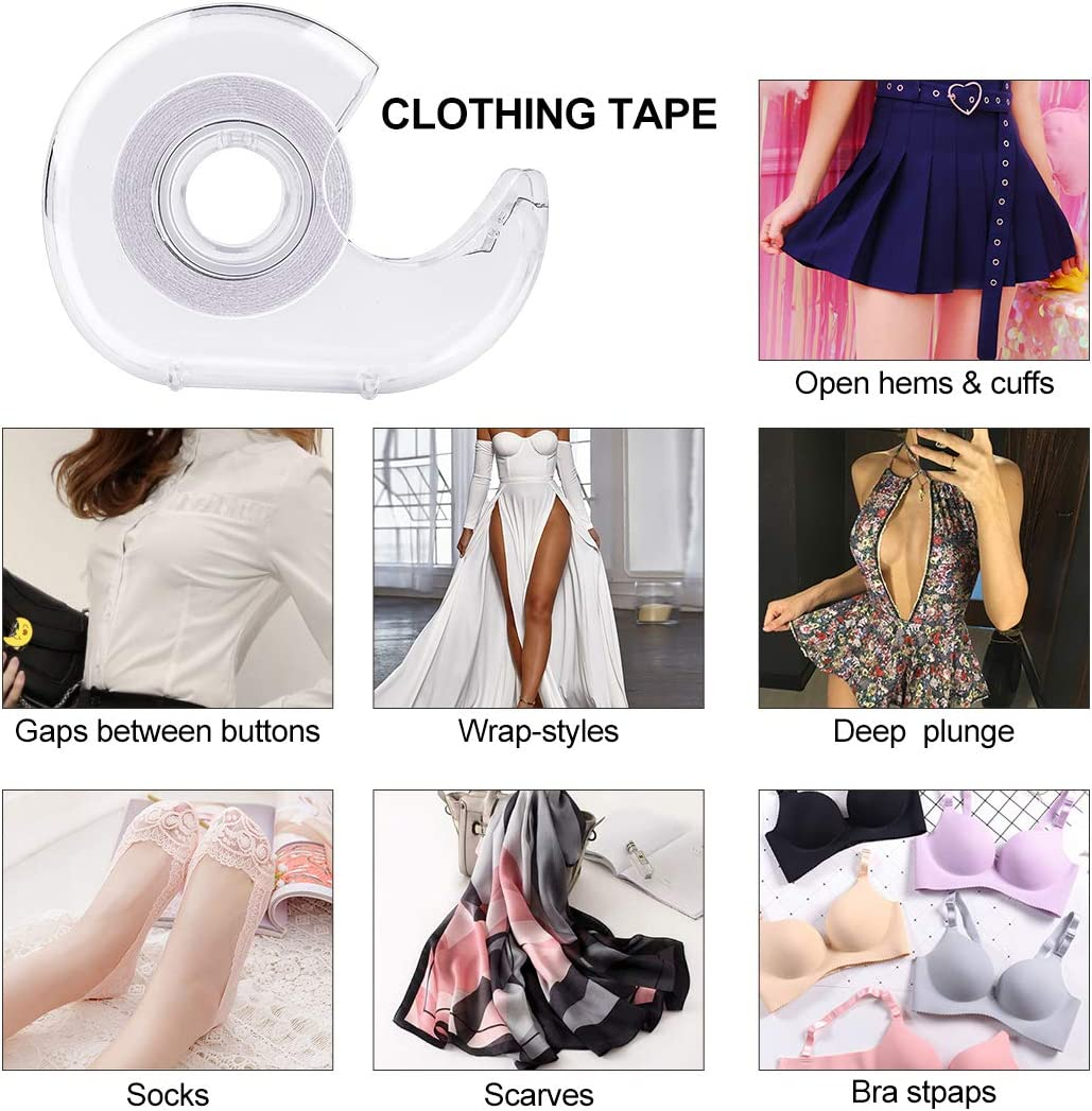 Double Sided Clothing Tape,-Medical Grade Clear Fabric Strong Double Sided Tape for Clothes//Dress,10M//33ft