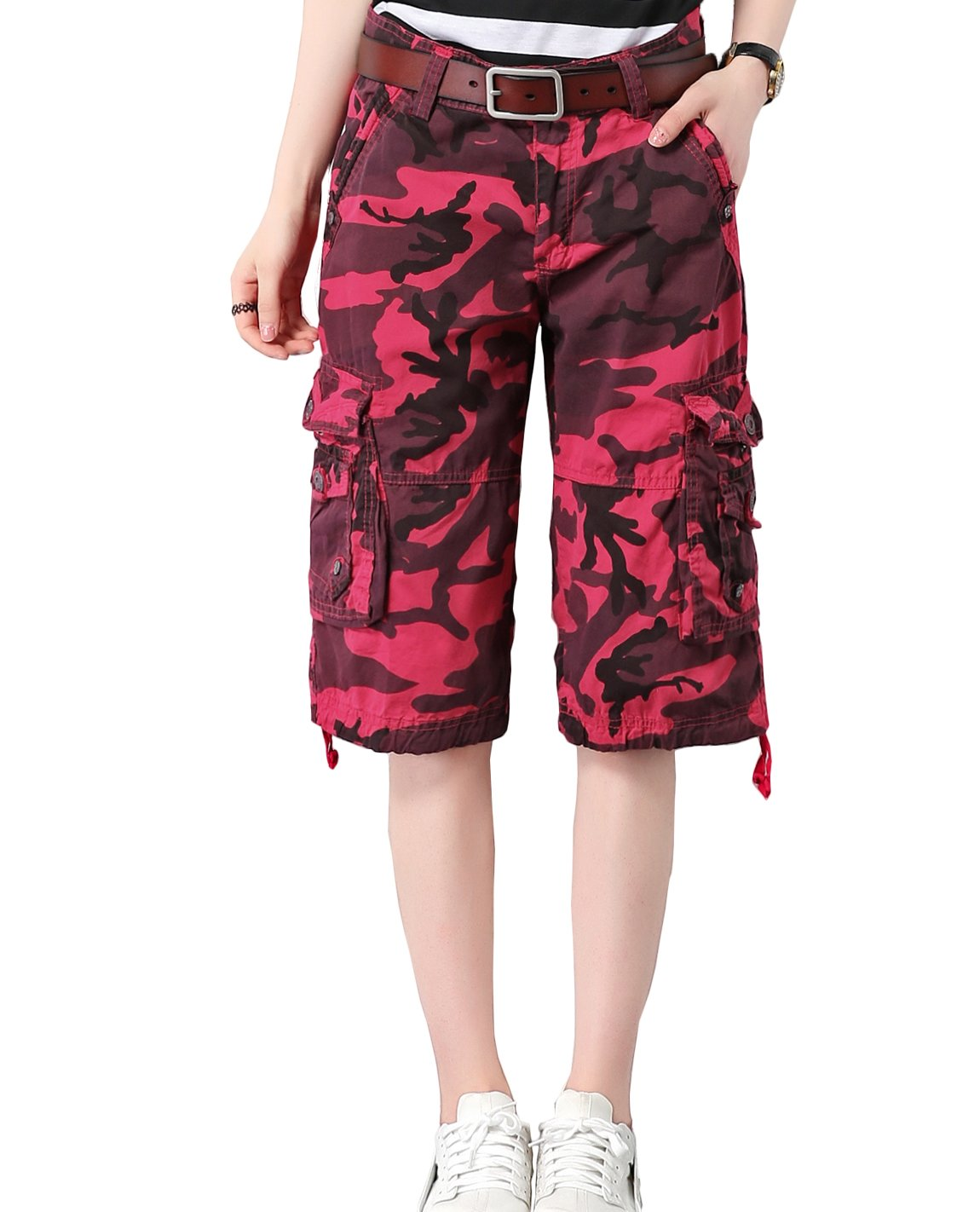 HOW'ON Women's Cotton Casual Loose Straight Leg Camouflage Bermuda Cargo Shorts Rose Red XL by HOW'ON