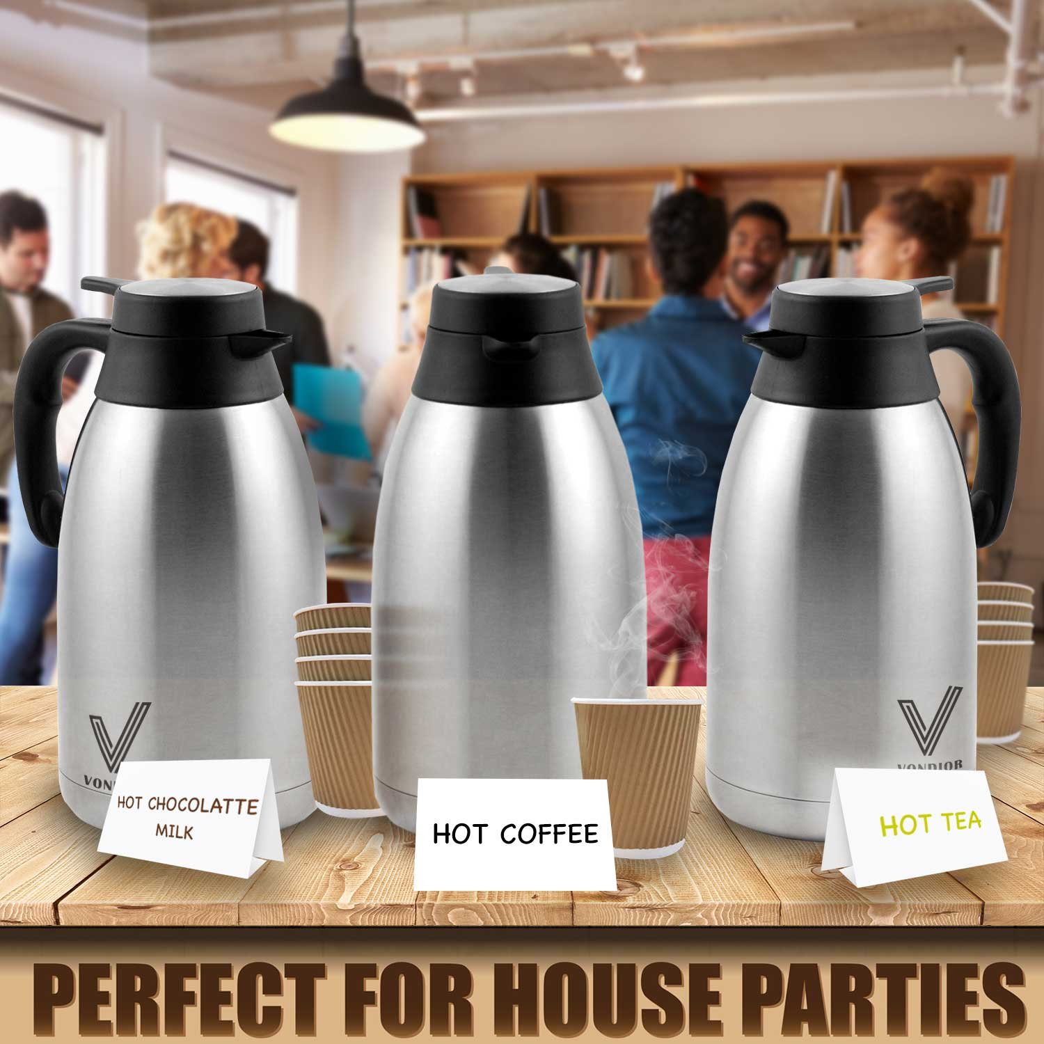 Coffee Thermal Carafe (68 Oz) + Free Brush - Large stainless steel thermos carafes, Keep water hot up to 12 Hours, double walled insulated vacuum flask, Beverage Dispenser By Vondior by Vondior (Image #3)