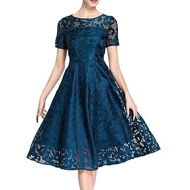 DISSA YL99609 Damen Reine Midi Kurzarm Spitze Hohl Cocktail Kleid Kleider  Partykleid Cocktailkleid  Amazon.de  Bekleidung 6f705c5975