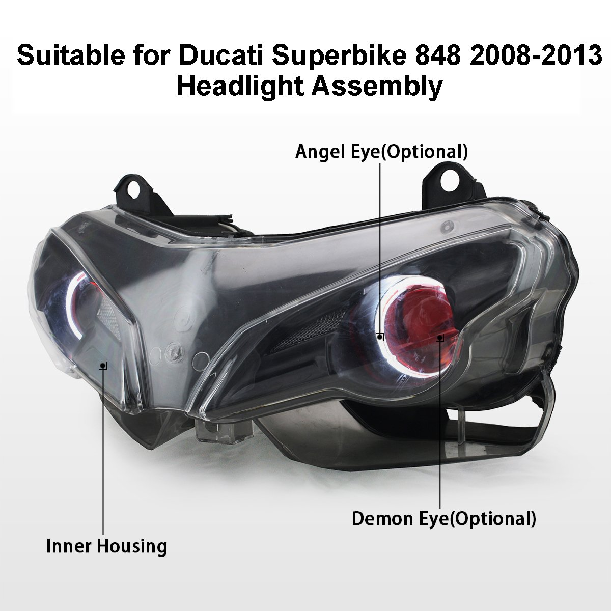 Kt Led Angel Eye Headlight Assembly For Ducati Superbike 2008 848 Wiring Diagram 2013 Red Demon Automotive