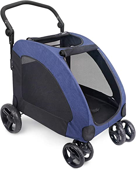 Adjustable Handle Zipper Entry Mesh Skylight Stroller for a Variety of Roads for Small to Large Dogs and Other Pet Travel Vergo Dog Stroller Pet Jogger Wagon Foldable Cart with 4 Wheels Blue