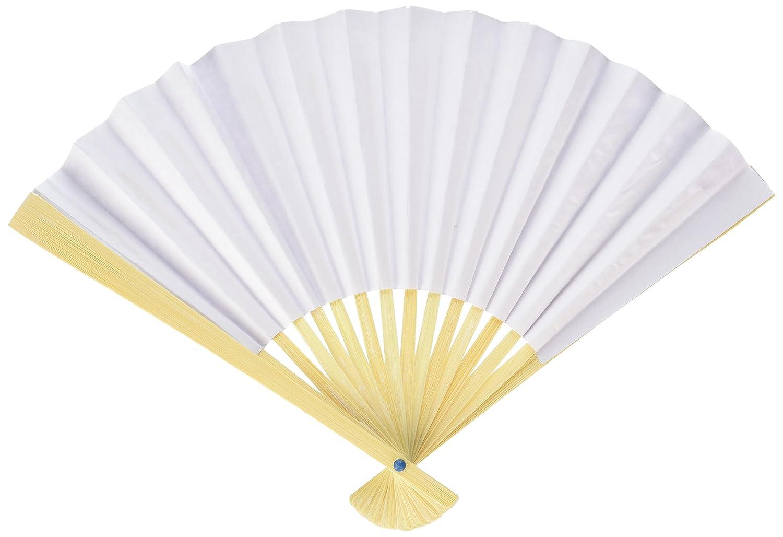 Amazon.com: Fashioncraft 6204 Elegant White Folding Fans, White ...
