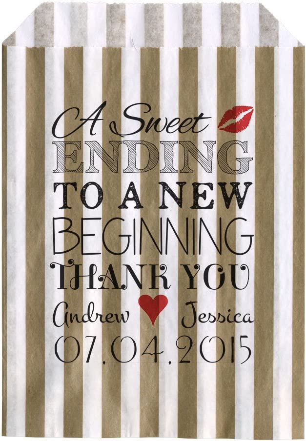 30, Gold striped Personalised Wedding Sweet Bags A SWEET ENDING Candy Cart Wedding Favours Confetti Engagement