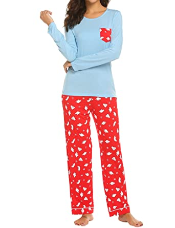 f68a1f595a Ekouaer Pajamas Women s Long Sleeve Sleepwear with Printed Sleep Pants Soft  Loungewear Pjs Set S-XXL