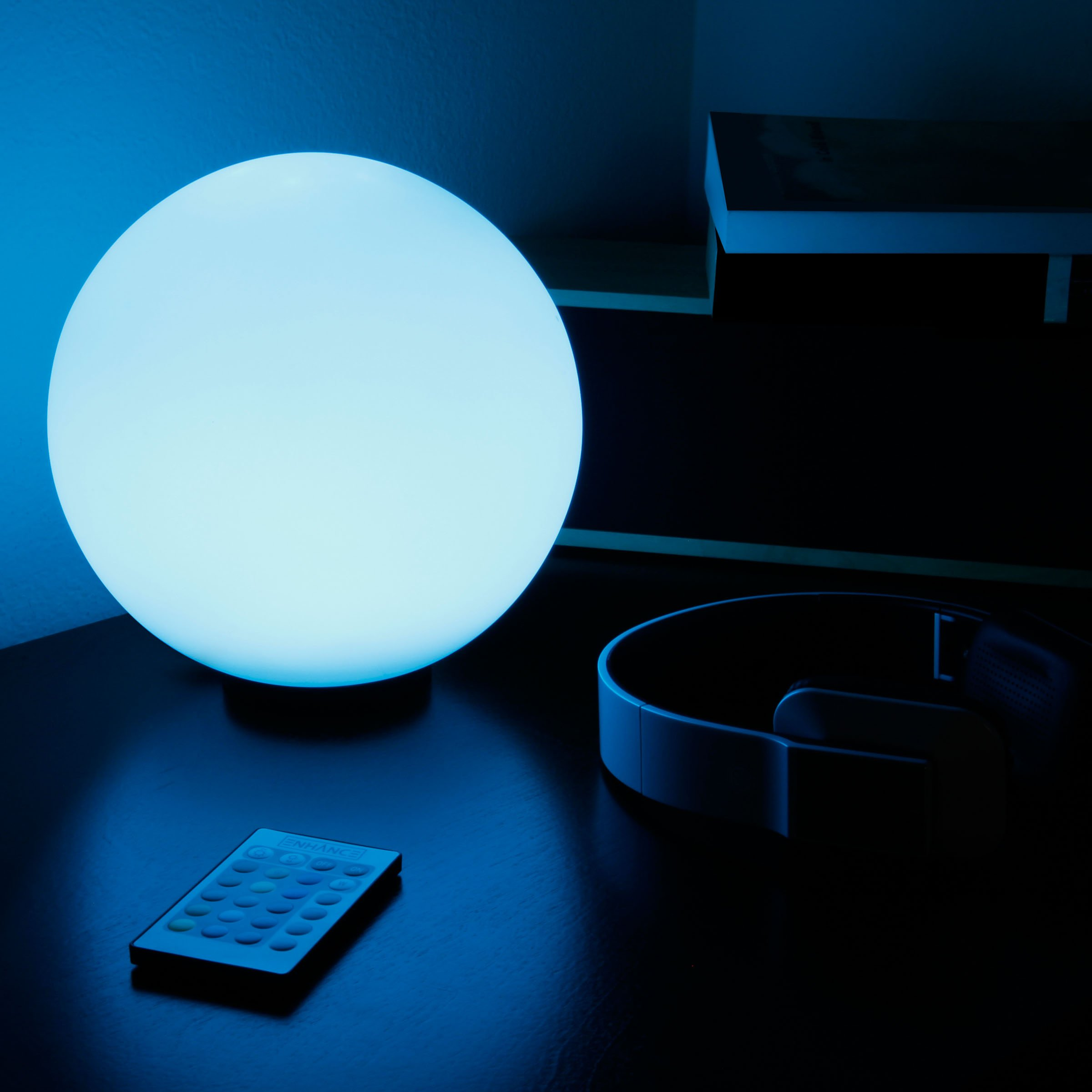 ENHANCE LED Globe Night Light Ambient Color Changing Premium Glass Mood Lamp with Remote Control - 7.9 inch 4 Lighting Modes & Battery or AC Adapter Power - Perfect for Children & Adults by ENHANCE (Image #2)