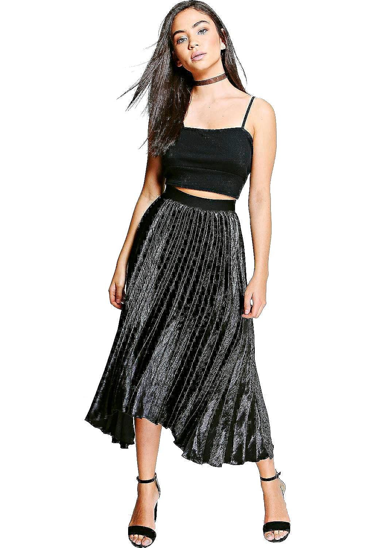 Black Womens Boutique Lorina Satin Pleat Midi Skirt