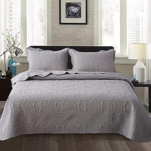 Travan Bedspread Quilt Set 3-Piece Oversized Quilted Coverlet Set with Shams, Grey Embossed, Queen