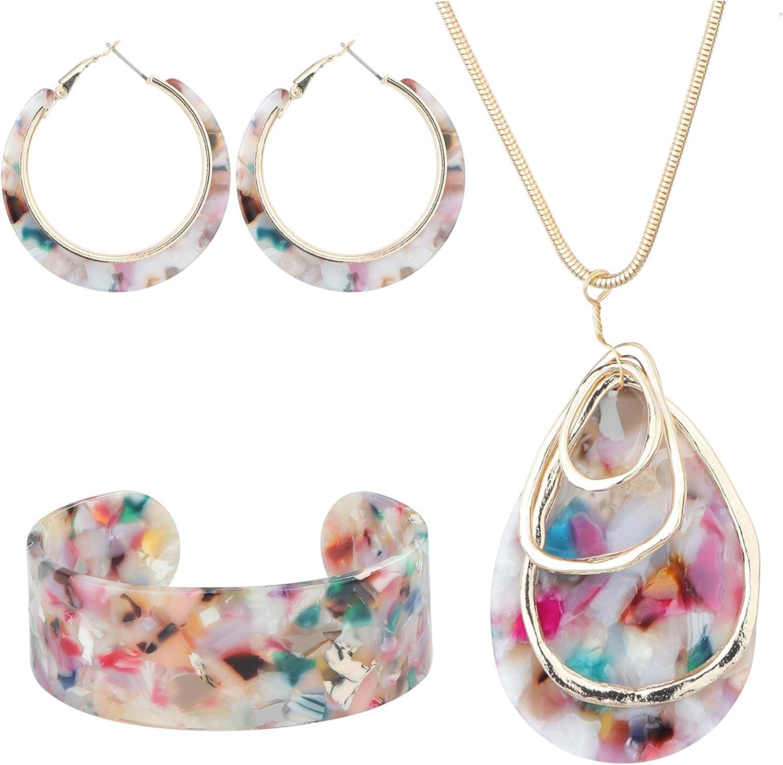 ORAZIO Acrylic Jewelry Set for Women Statement Boho Resin Earrings Necklace Bracelet