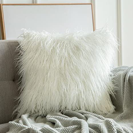 15c944e657a9b Miulee Decorative Luxury Plush Pillow Cover Mongolian Faux Fur Throw Pillow  Case Deluxe Cushion Cover for Sofa Couch Car 24 x 24 Inch White  Amazon.ca   Home ...