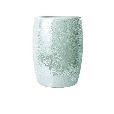 Whole Housewares Bathroom Wastebasket - Glass Mosaic Decorative Trash Can Dia 7.5  H 10  (Turquoise)