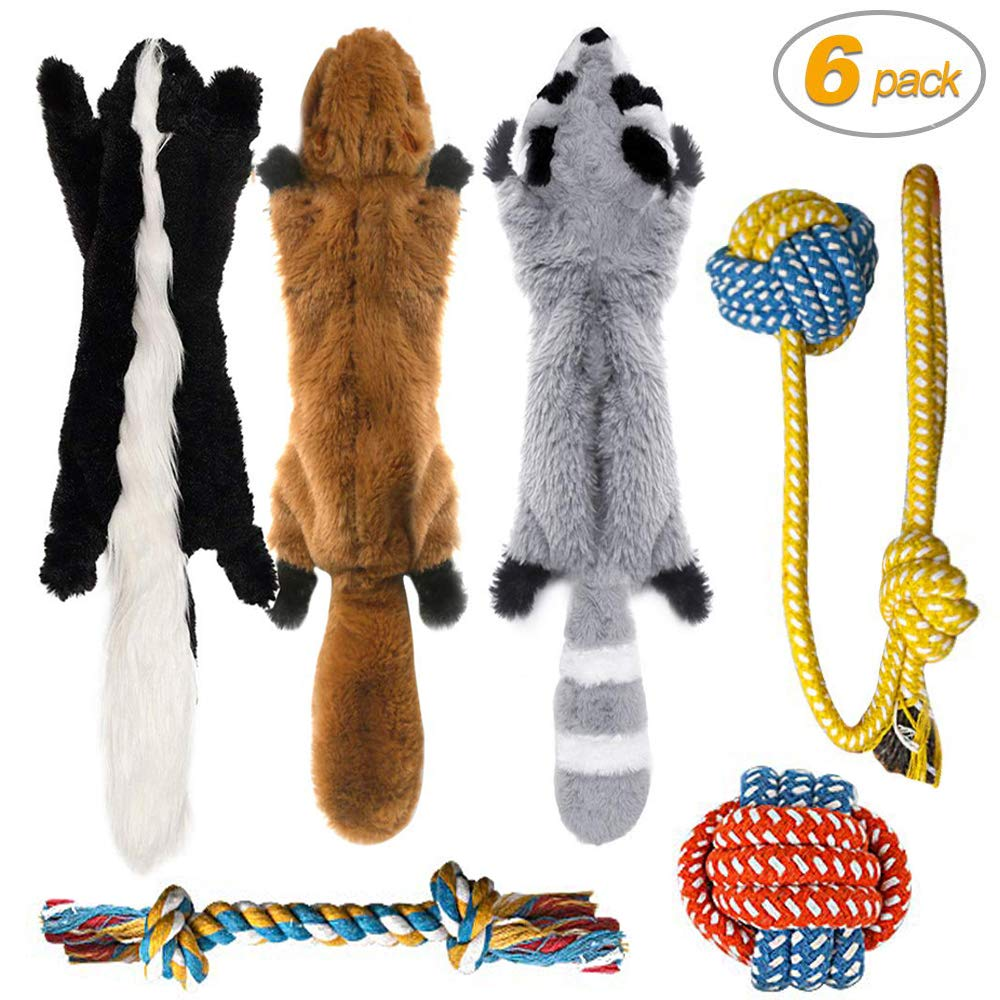 Peteast-3 Squeaky Toys and 3 Rope Dog Toys, No Stuffing Squeaky Plush Fox Raccoon Squirrel, Puppy Chew Teething Rope…
