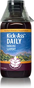 WishGarden Herbs - Kick-Ass Daily, Daily Immune Support, Promotes Healthy System Response, Herbal Remedy (4 oz Jigger)