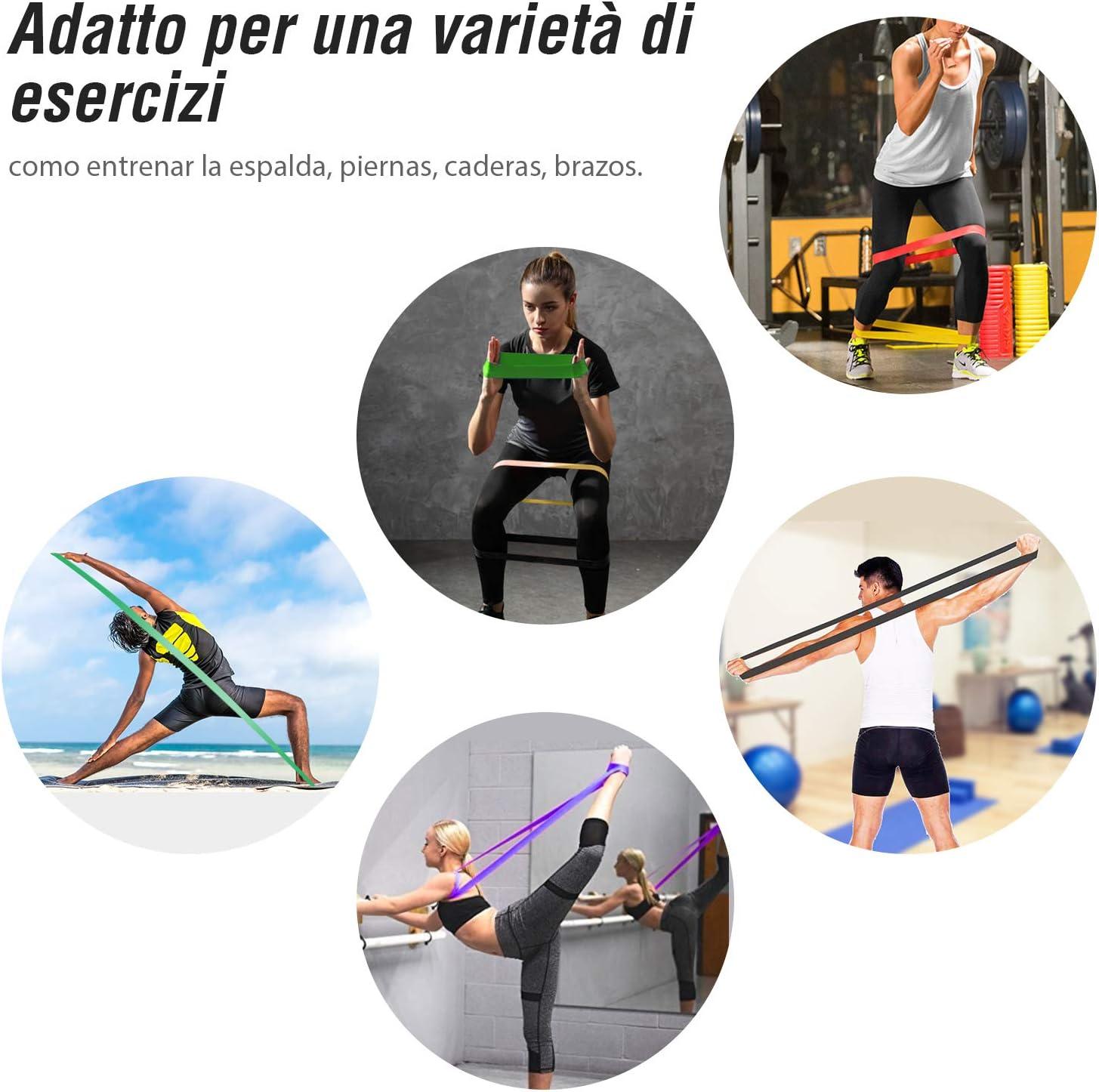 Zacro 5pcs Banda de Resistencia,Bandas Elasticas de Fitness Premium al Látex Natural para Entrenamiento de Fuerza, Estiramiento, Pilates, Yoga, ...
