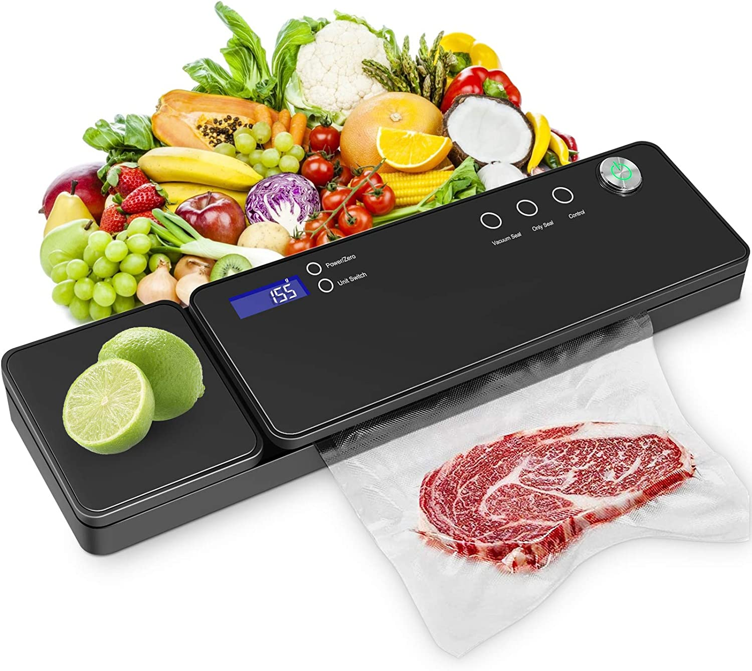Vacuum Sealer Machine, VOLADOR Automatic Vacuum Sealer with Scale for Food Saver, Sous Vide Cooking, Dry/Moist Foods, Cutter, 10 Sealer Bags
