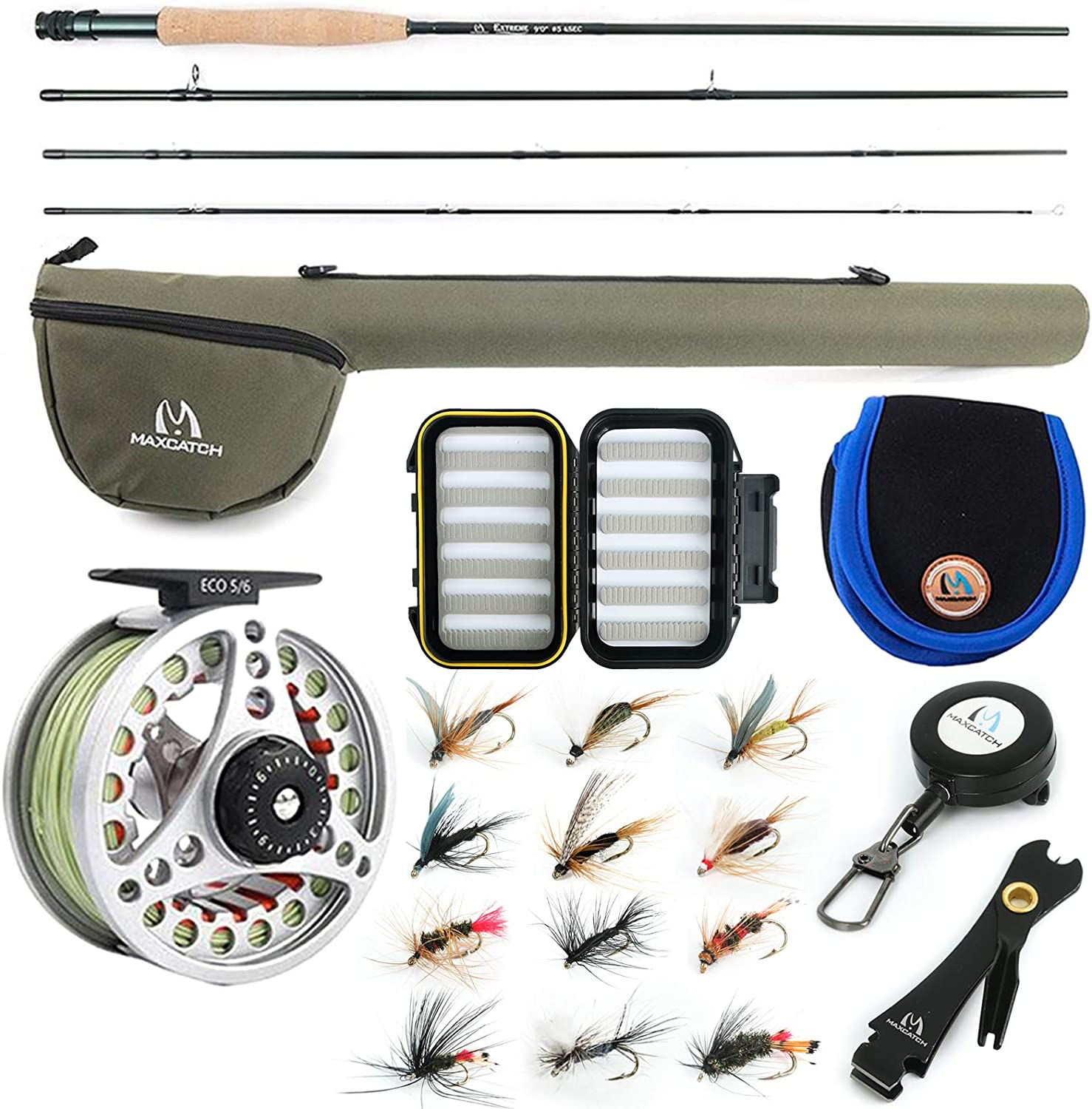 Amazon Com M Maximumcatch Maxcatch Extreme Fly Fishing Combo Kit 3 5 6 8 Weight Starter Rod And Reel Outfit With A Protective Travel Case 3wt 8 4 4pc Rod 3 4 Reel Sports Outdoors