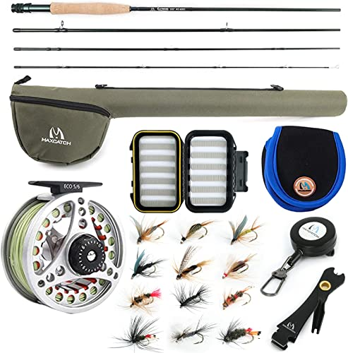 M MAXIMUMCATCH Maxcatch Extreme Fly Fishing Combo Kit 3 5 6 8 Weight, Starter Fly Rod and Reel Outfit, with a Protective Travel Case