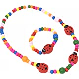 CHILDRENS Ladybird Beaded Necklace and Bracelet Set - PARTY bag fillers, stocking fillers, gifts for little girls