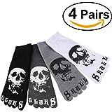 ULTNICE 4 Pairs Men's Casual Cotton Five Toes Socks Short Socks with Skull Pattern