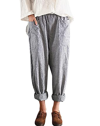 4eaf38e2395 BBYES Womens Casual Loose Plus Size Elastic Waist Cotton Linen Trouser  Cropped Straight Leg Pants Black