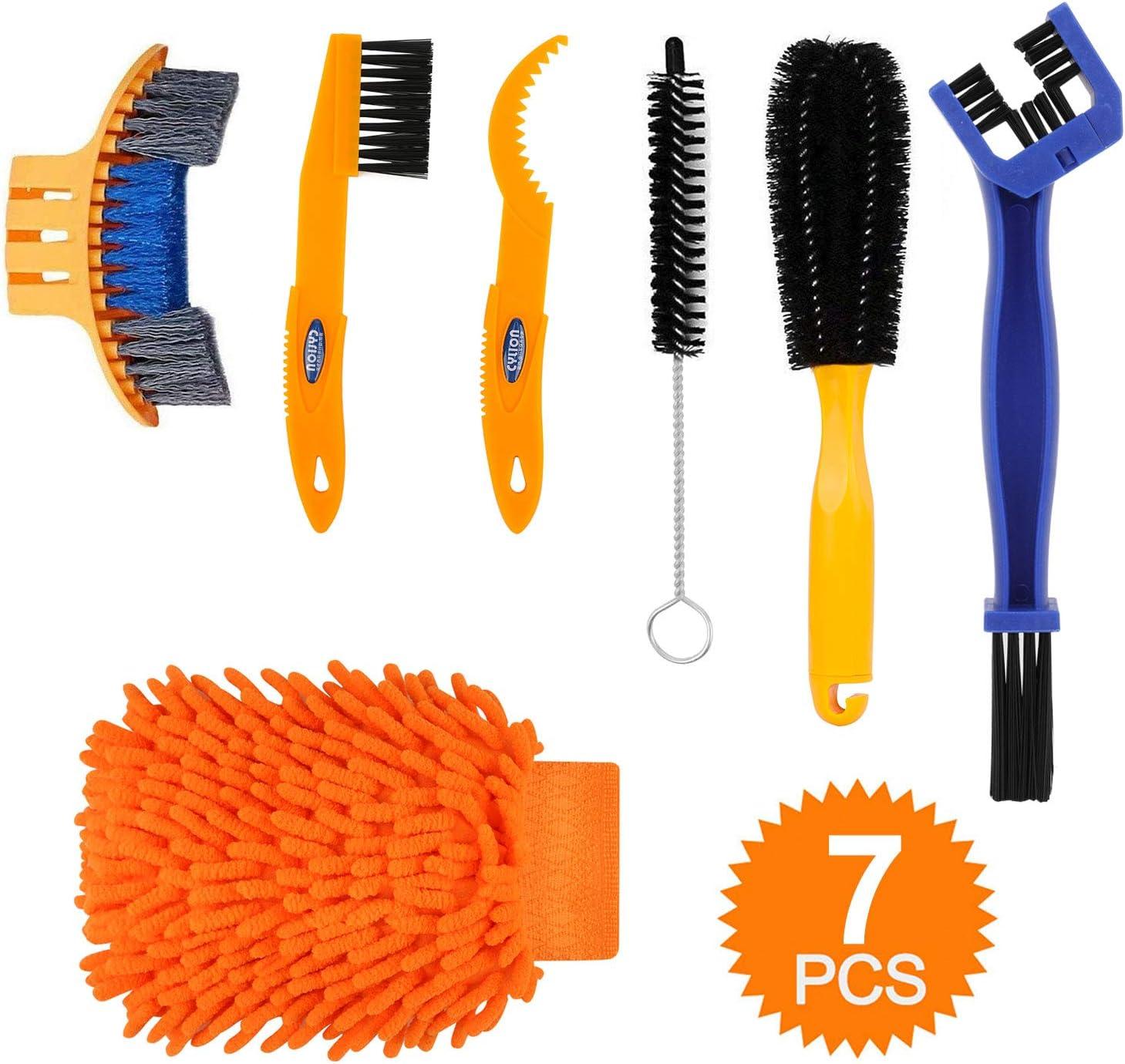 TAGVO - Juego de 6 herramientas de limpieza para bicicleta, kit de cepillo de limpieza de cadena de bicicleta, juego de herramientas para limpiar cadenas, neumáticos, piñones, ciclismo, esquinas, manc