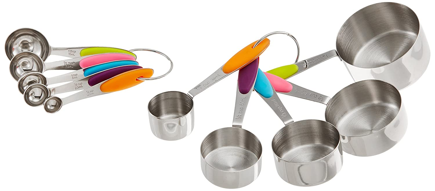 Decorative Measuring Spoons And Cups Amazoncom Kukpo 10 Piece Stainless Steel Measuring Cups And
