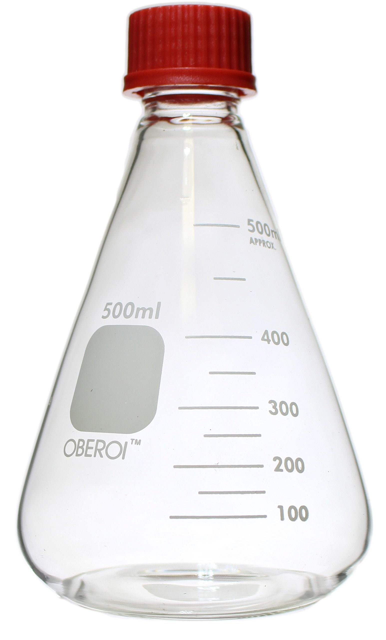 Erlenmeyer Flasks with Screw Caps Set, 1000 mL, 500mL, 250 mL, 100 mL, Graduated Borosilicate 3.3 Glass by Oberoi Laborglas (Image #2)
