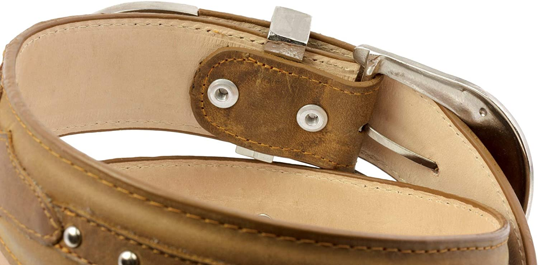 El Presidente Mens Light Brown Concho Western Cowboy Belt Silver Buckle 32