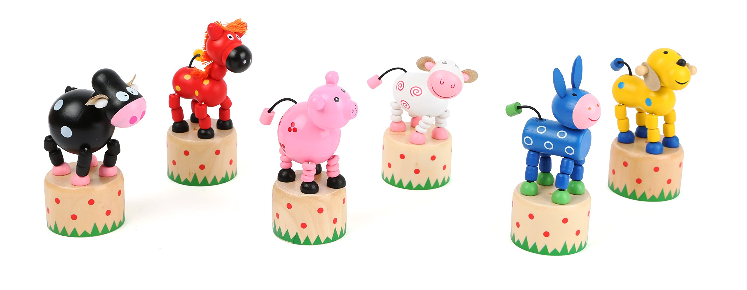 Small Foot 10690 Wooden Press Cute Farm Animals in six Different Designs, Funny Movements at The Push of a Button, Ideal as a Souvenir
