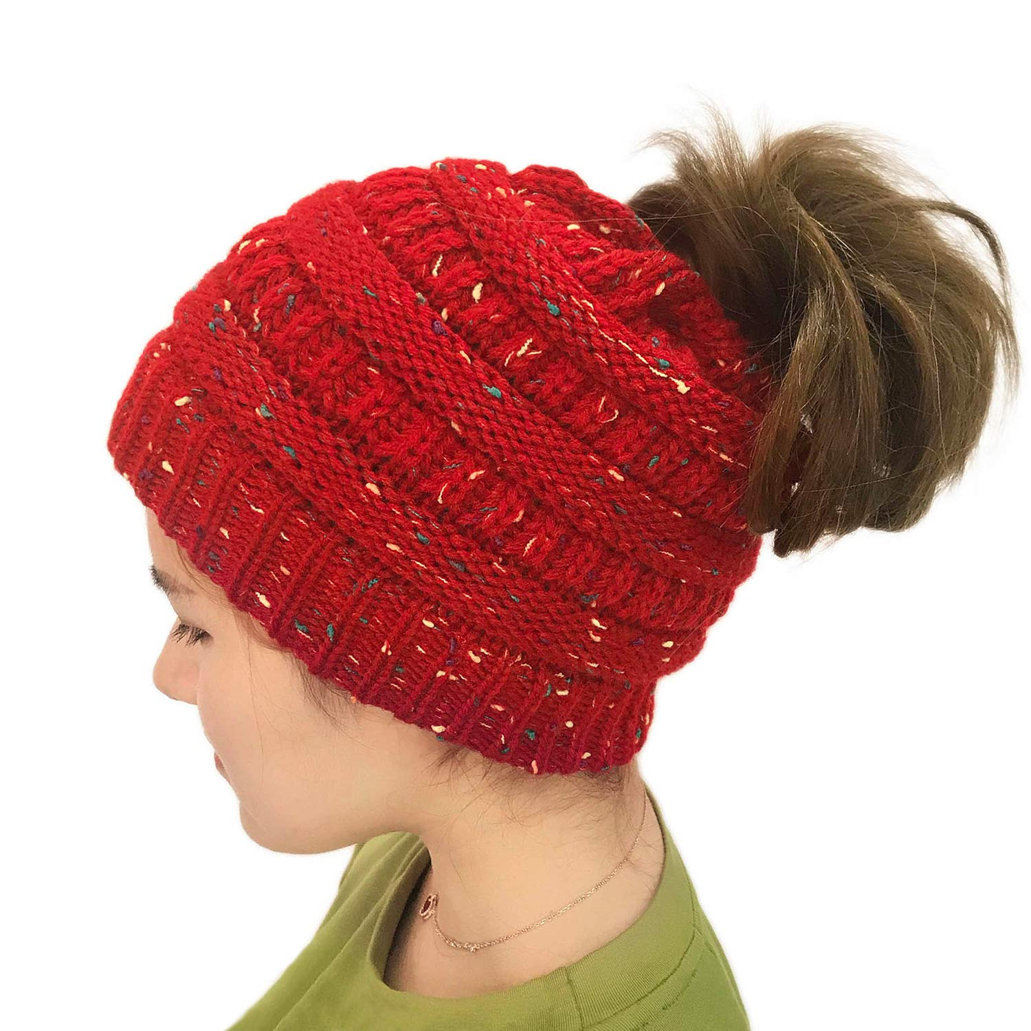 Lamdgbway Chunky Knit Beanie Colored-Spots Stretch Cable Messy Ponytail Beanie Bun Hat LWHats17020-Ba