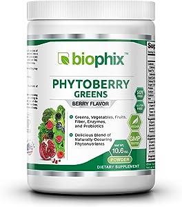 Phytoberry Greens Superfood Powder 10 oz - Natural Berry Flavor | Greens | Vegetables | Fruits | Fiber | Probiotics | Smoothie | Shake | Drink