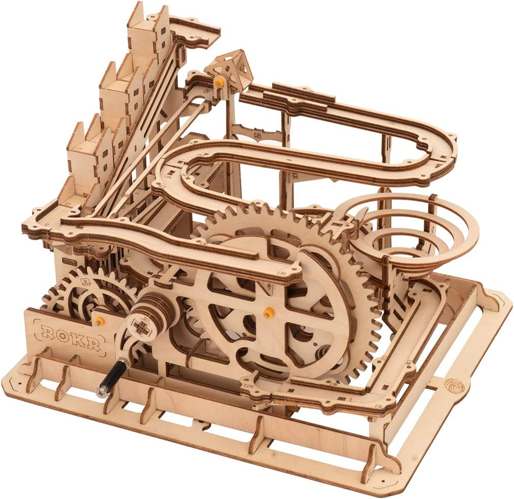 Rolife 3D Wooden Puzzles for Adults, Wood Craft Model Kits, Assembly Mechanical Building Kits, Educational Science Engineering Toy for Boys and Girls to Build Ages 14+ (Waterwheel Coaster)