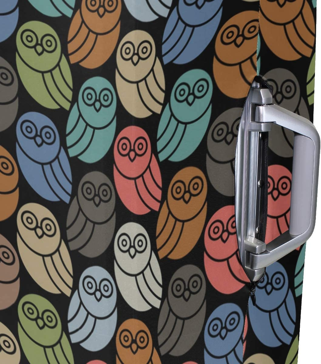 Retro Colors Owl Decorations Travel Luggage Protector Case Protective Suitcase Cover Elastic Luggage Protector Case Protector,Four Sizes Available