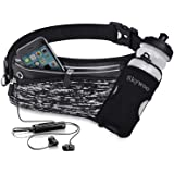Skywoo Running Belt Waist Pack with Water Bottle Holder Fanny Pack Reflective Compatible for iphone X/XS Max/XR, Waistband Tr