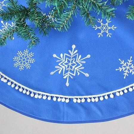 CHENZHAOL Falda de árbol Bordado de Copo de Nieve con Borde de ...