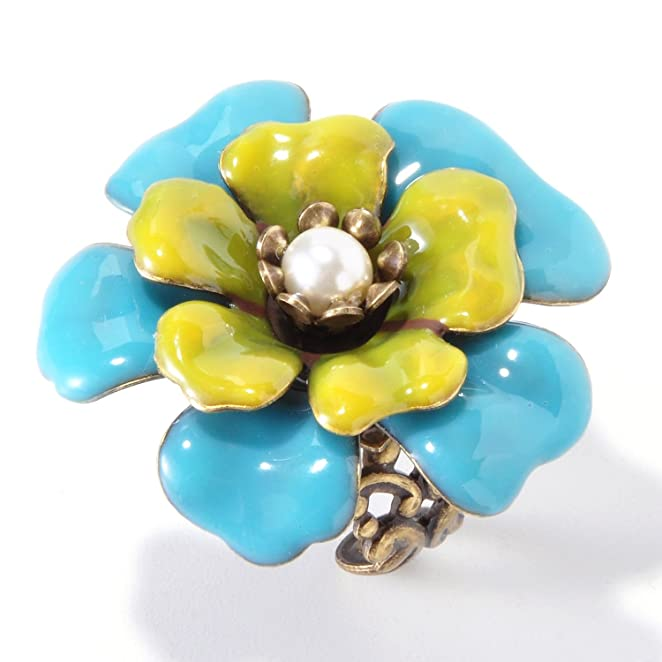 1950s Costume Jewelry  Camellia Enamel Flower Ring $35.00 AT vintagedancer.com