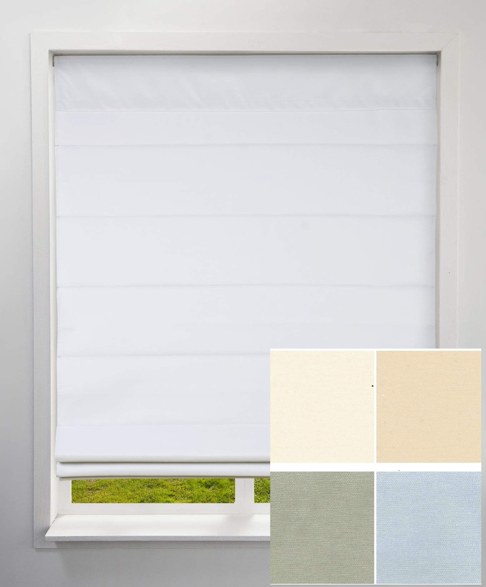 Arlo Blinds Blackout Fabric Roman Shades - Sample Swatch Pack, not a Working Shades, for You to Review The Color and Fabric Before Ordering.Include White, Ivory, Grey Color.