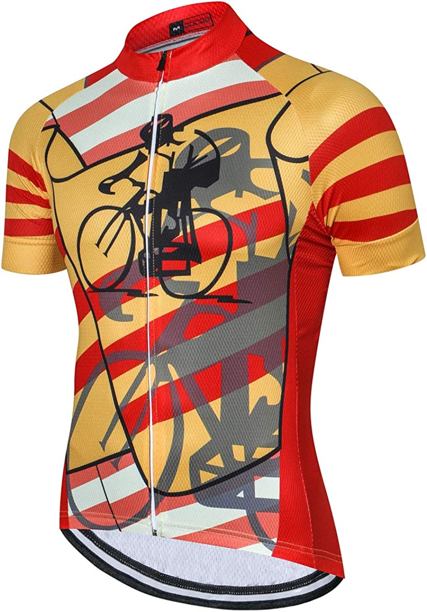 Weimostar Mens Cycling Jersey Short Sleeve Bike Clothing Multicolored Diamond