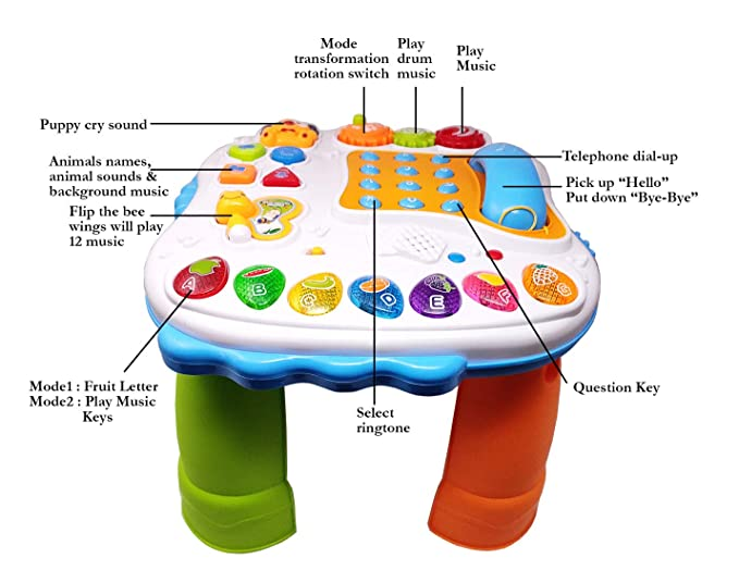 Kiddale Multifunctional Learning Educational Table with Music, Animal Sounds, Drum, Telephone dial-up, with Colorful Board and Lights, Multi Mode Playing Fun Filled Learning for Your Child